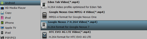 nexus 7 video format