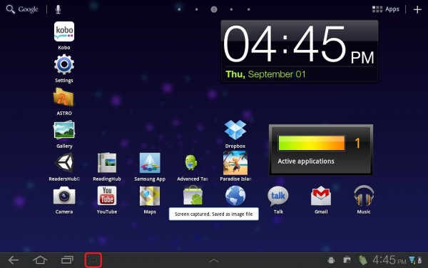 take screenshots on a samsung galaxy tab 2