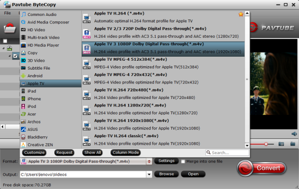 enjoy Blu-ray on Apple TV 3