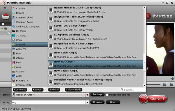 Nook Tablet video format