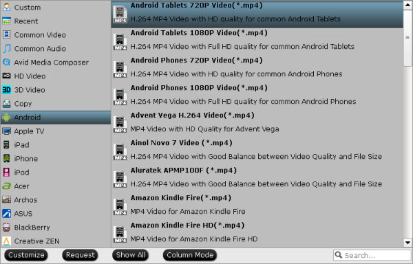 suitable video format for Android tablets
