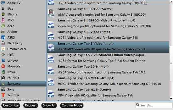 Galaxy Tab 3 video format