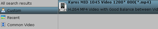 Kyros MID1045 video format