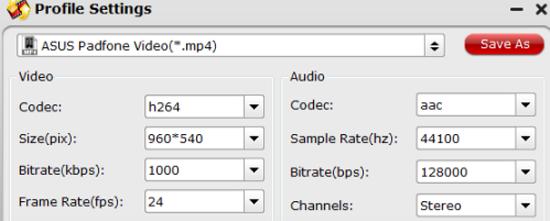 Asus Padfone video settings