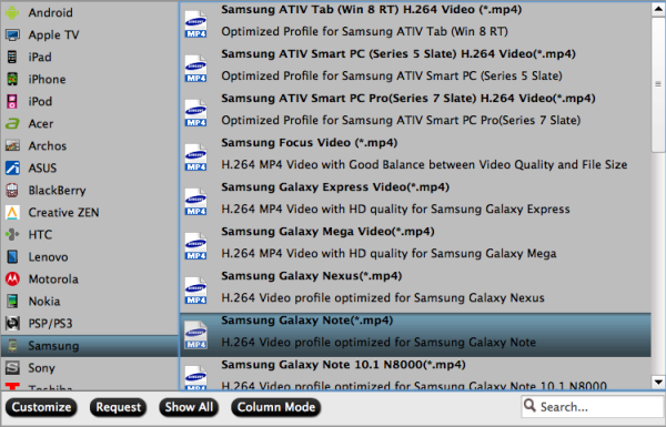 Galaxy Note 10.1 video format
